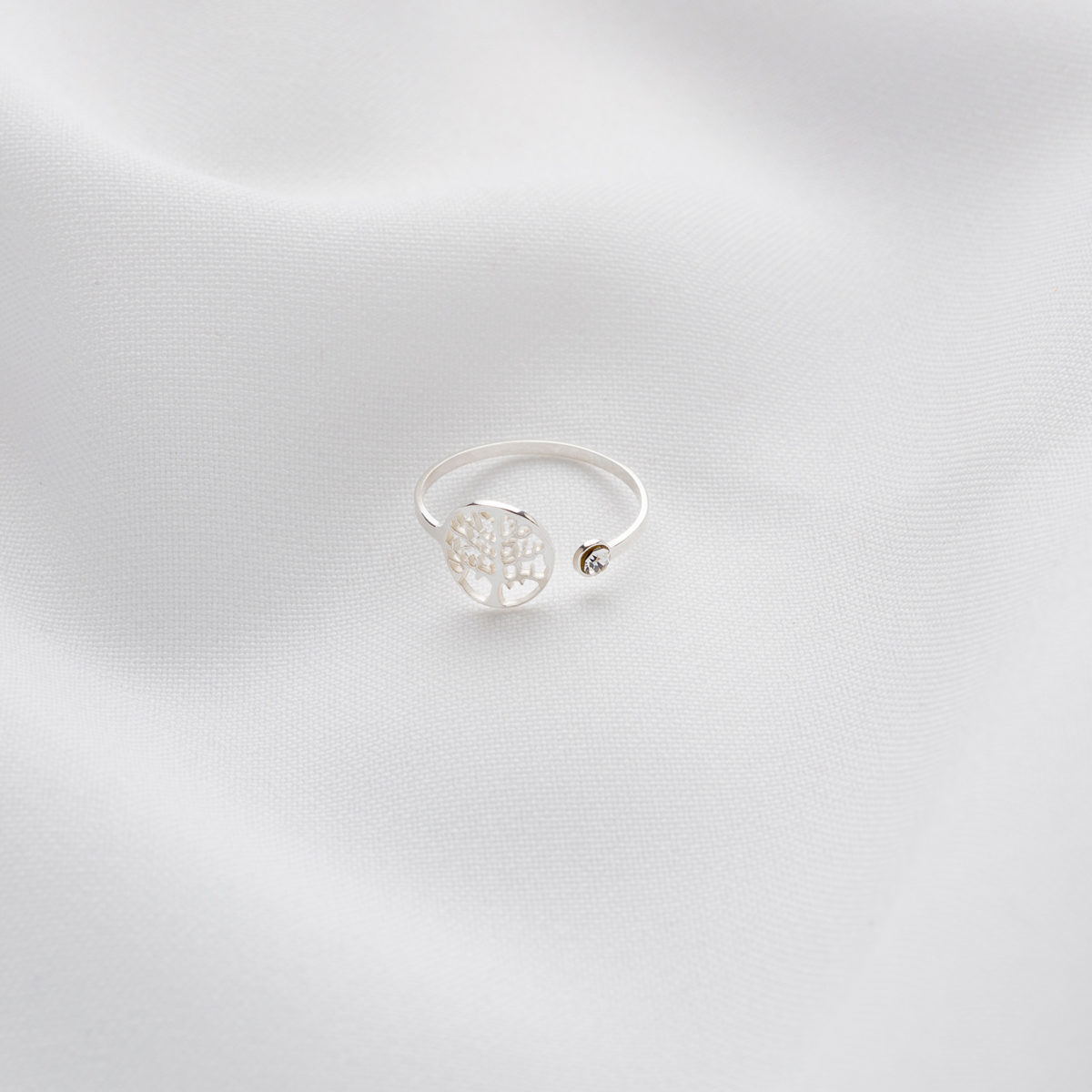 Tree Of Life Ring With Solitaire Silver Miijoya